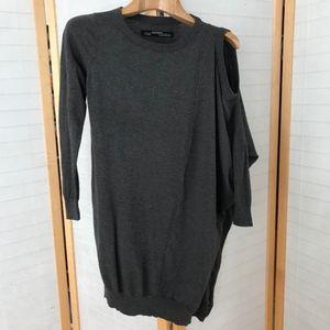 All Saints cold shoulder grey silk cotton sweater